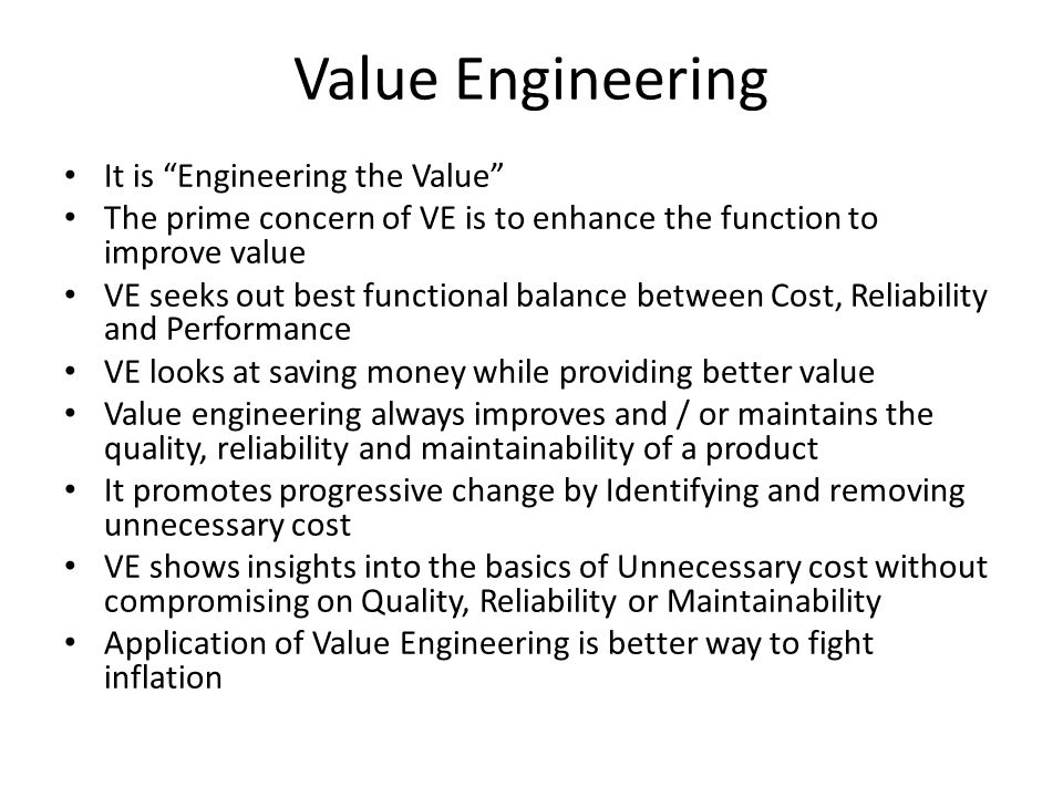 Value Engineering It is Engineering the Value