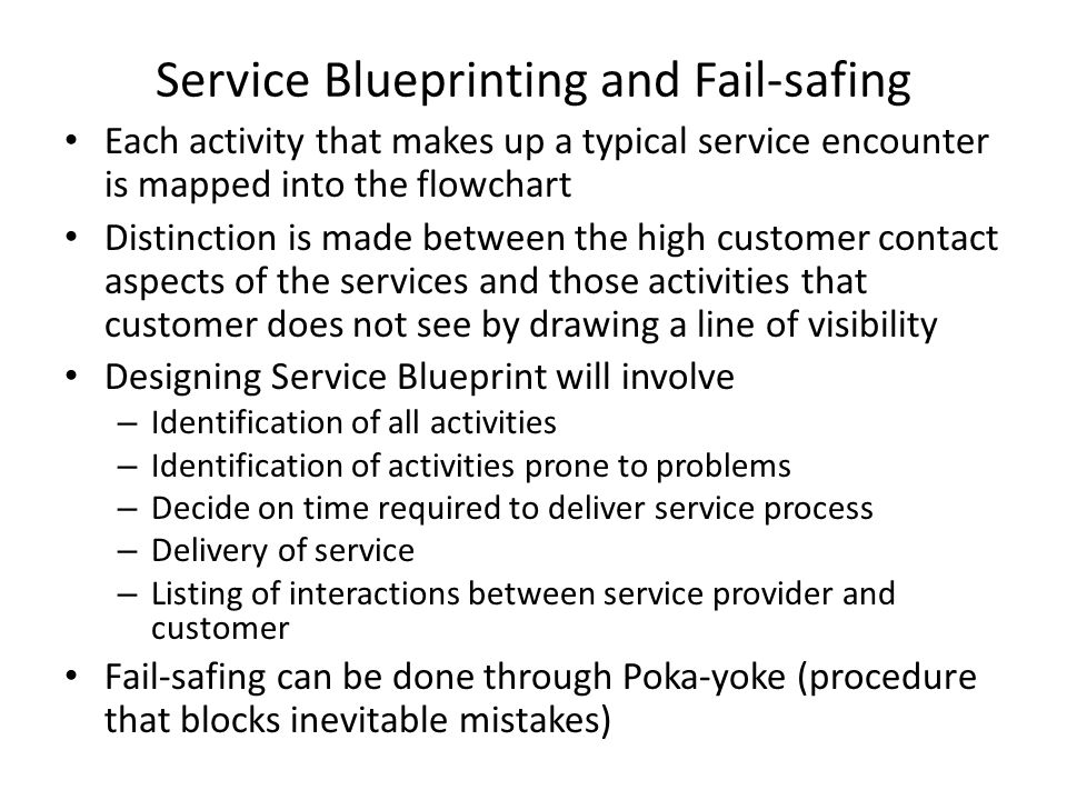 Service Blueprinting and Fail-safing