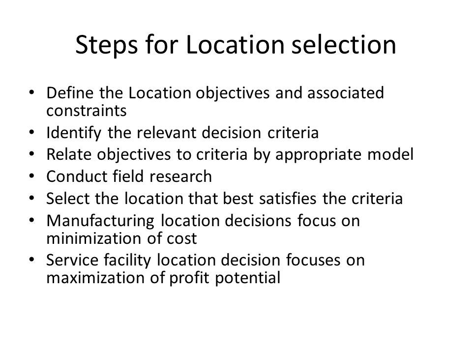 Steps for Location selection