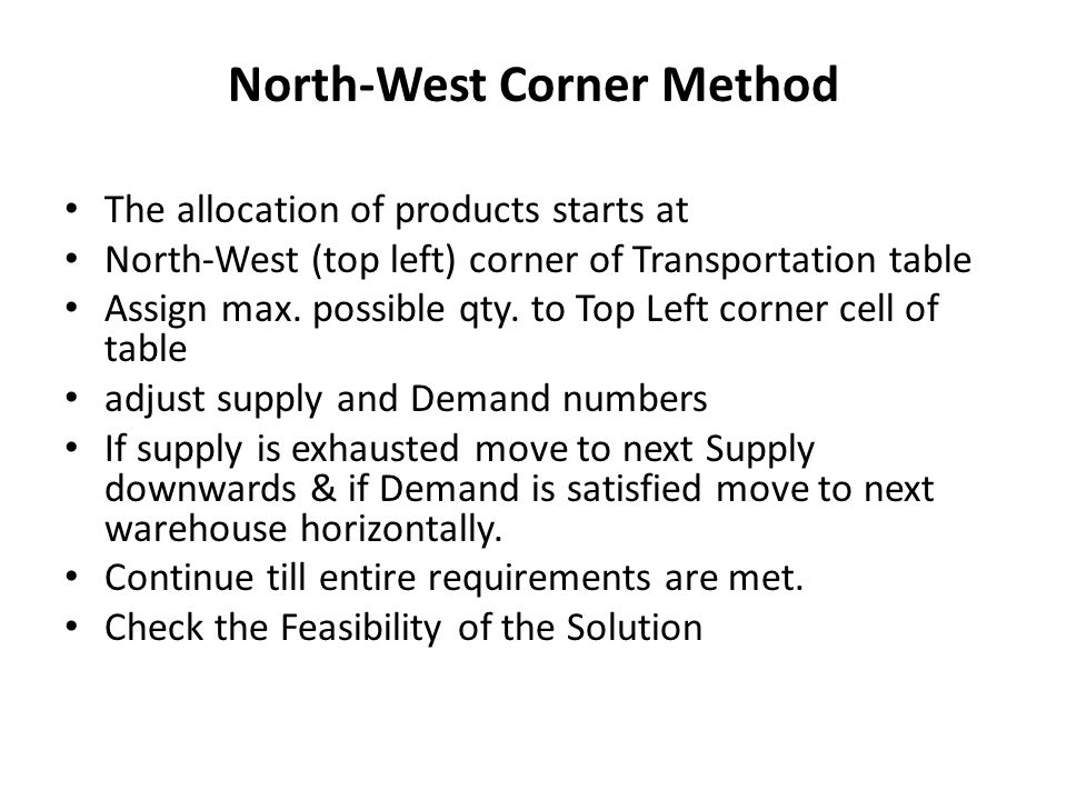 North-West Corner Method