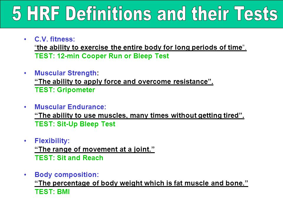 5 HRF Definitions and their Tests