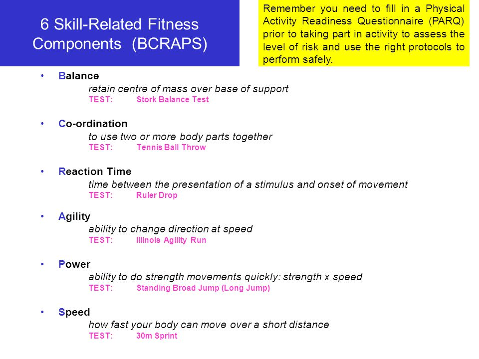 6 Skill-Related Fitness Components (BCRAPS)
