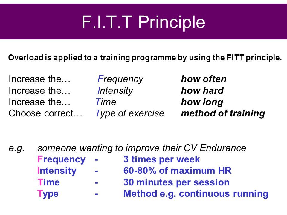 F.I.T.T Principle Increase the… Frequency how often