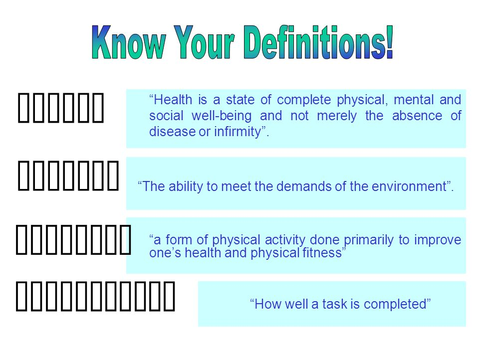 Health Fitness Exercise Performance Know Your Definitions!