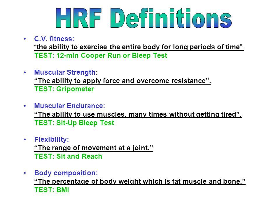 HRF Definitions C.V. fitness: