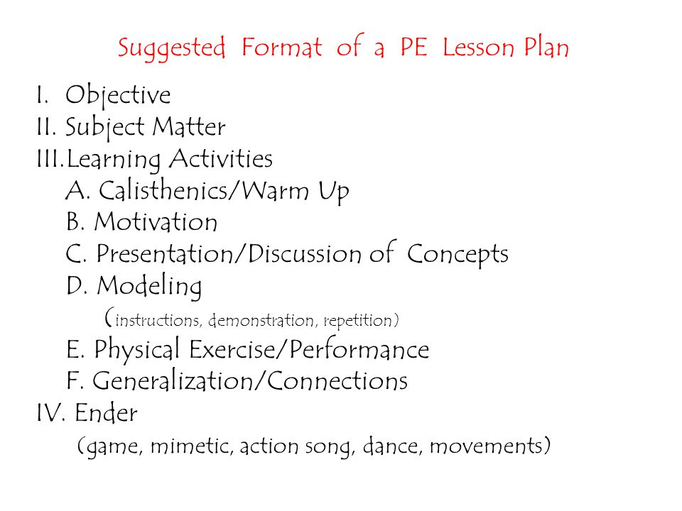 Suggested Format of a PE Lesson Plan