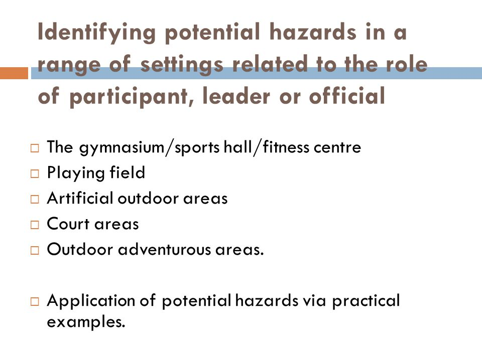Identifying potential hazards in a range of settings related to the role of participant, leader or official