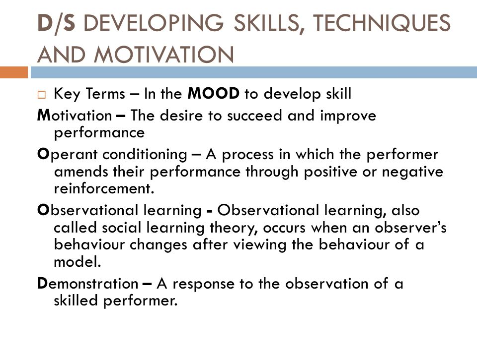 D/S Developing skills, techniques and motivation
