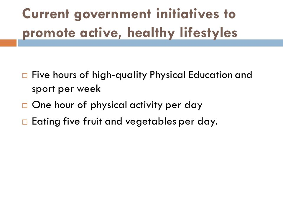 Current government initiatives to promote active, healthy lifestyles