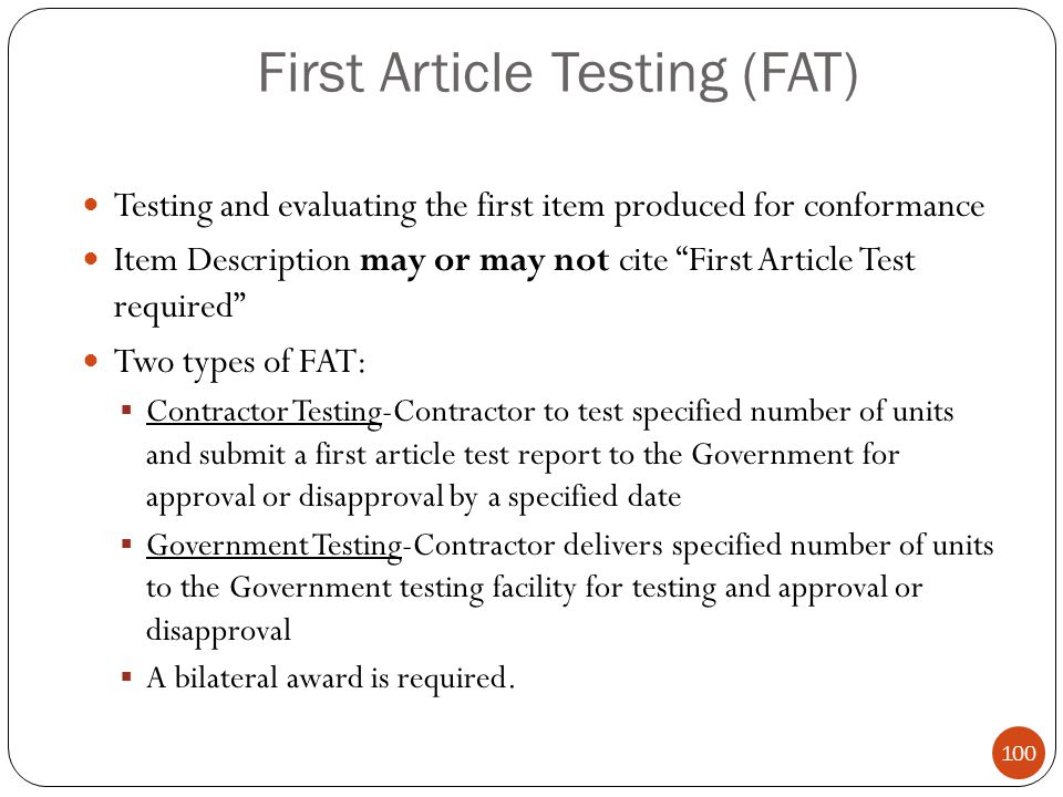 First Article Testing (FAT)