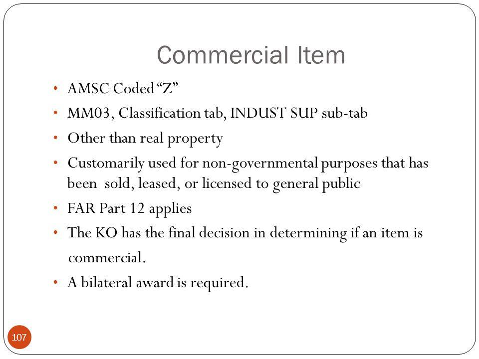 Commercial Item AMSC Coded Z