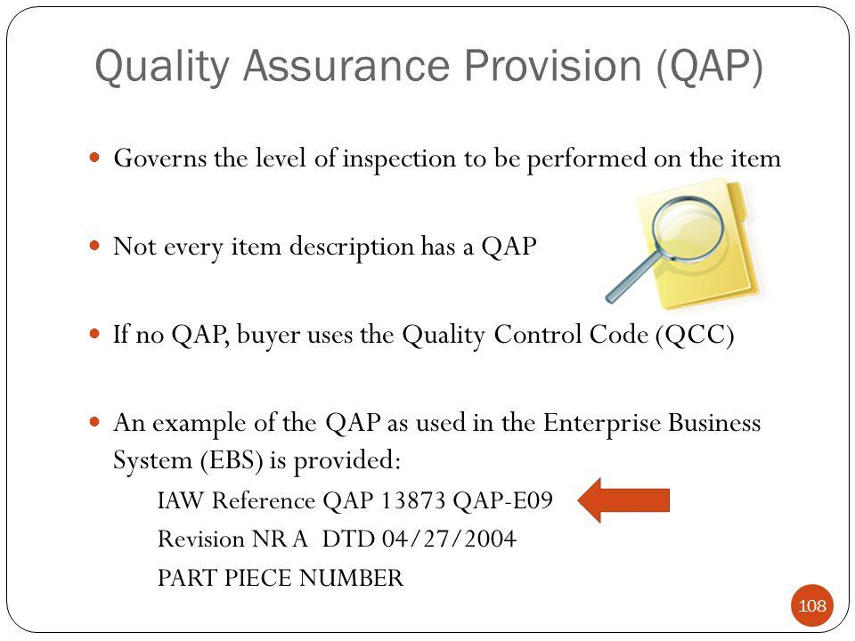 Quality Assurance Provision (QAP)