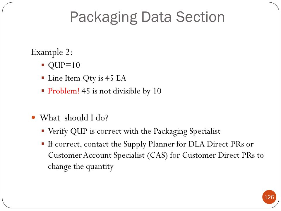 Packaging Data Section