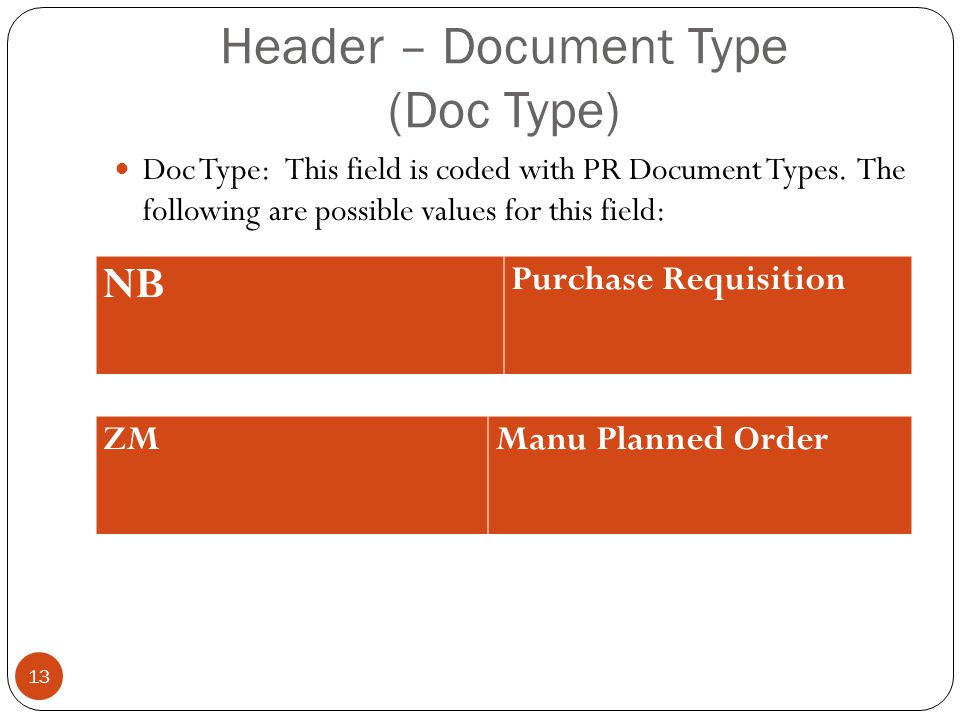 Header – Document Type (Doc Type)