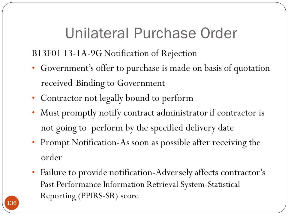 Unilateral Purchase Order