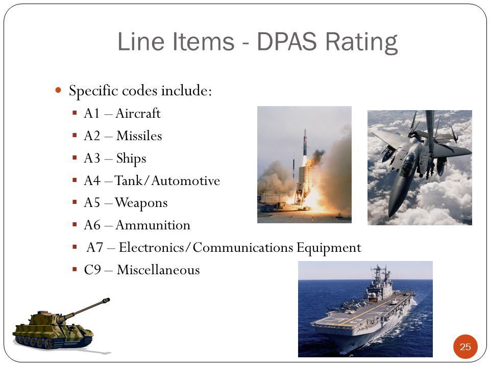 Line Items - DPAS Rating