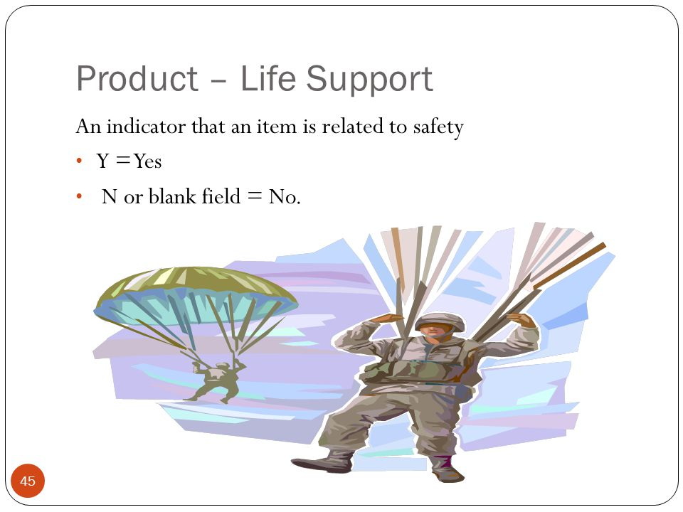 Product – Life Support An indicator that an item is related to safety