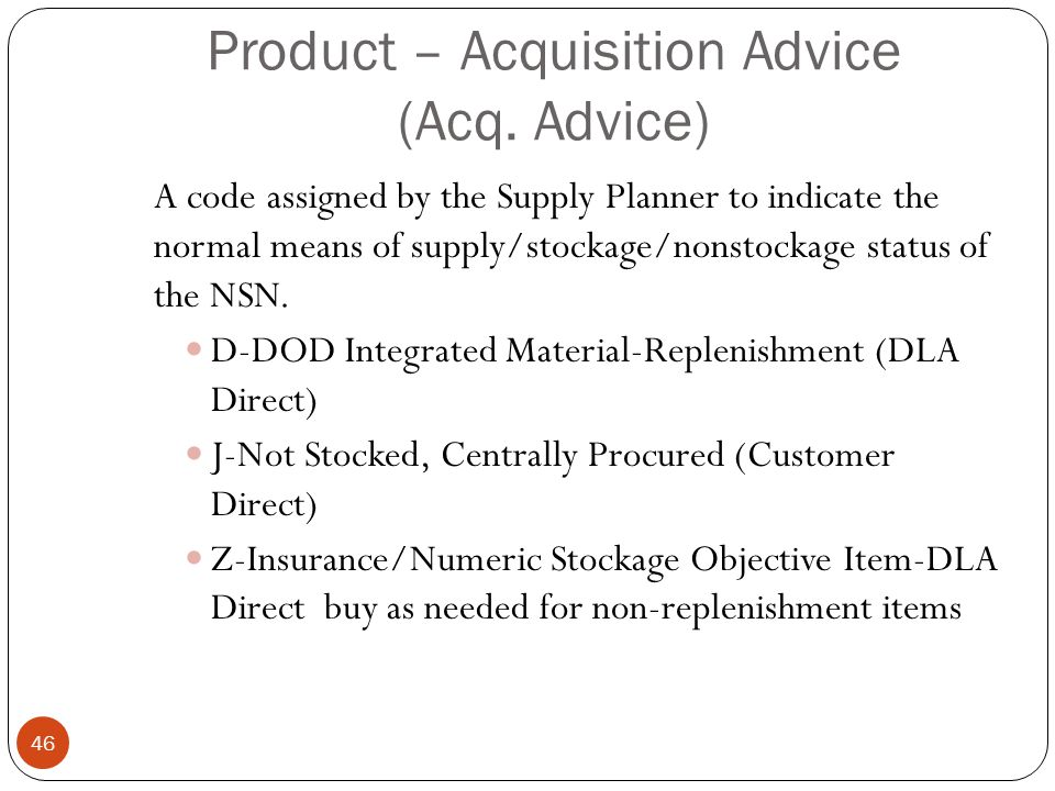Product – Acquisition Advice (Acq. Advice)