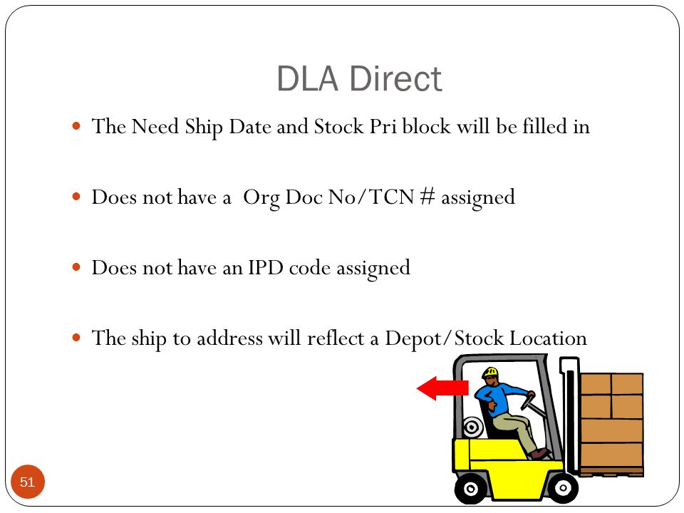 DLA Direct The Need Ship Date and Stock Pri block will be filled in