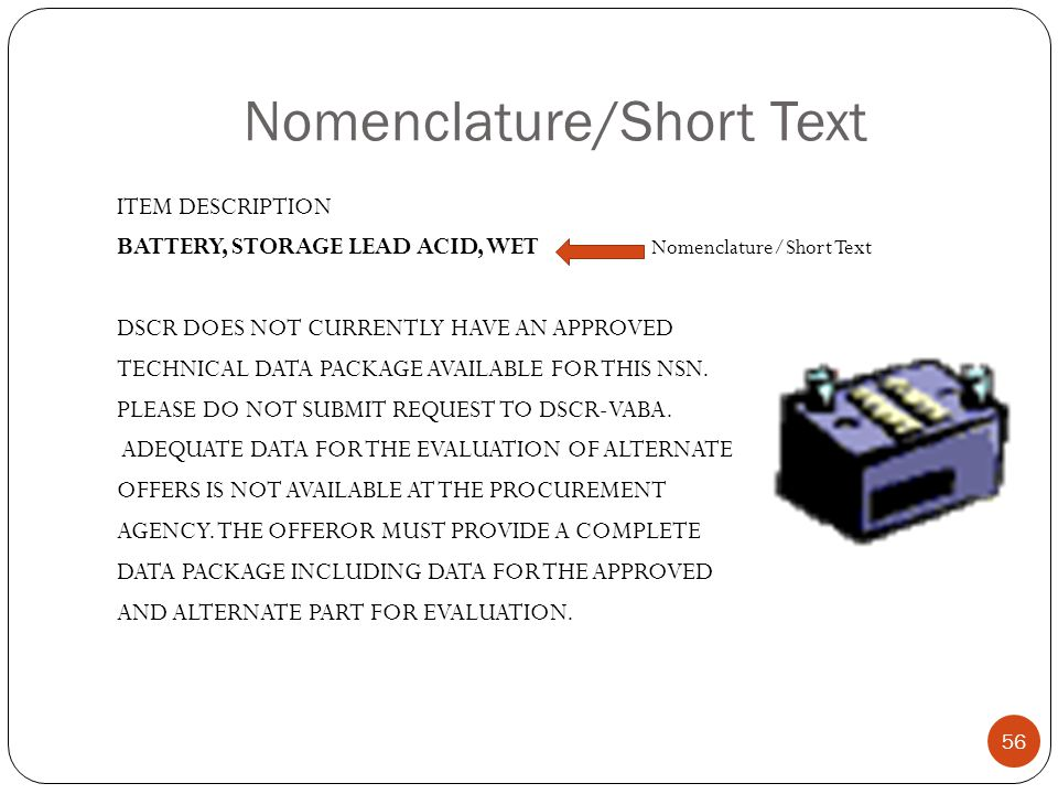 Nomenclature/Short Text