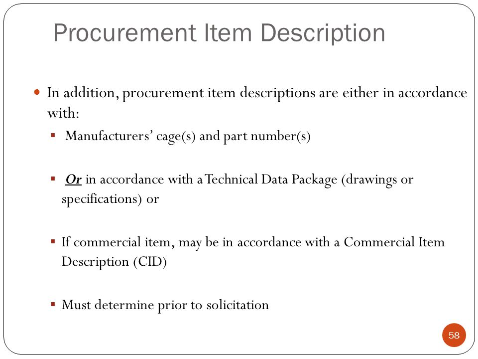 Procurement Item Description