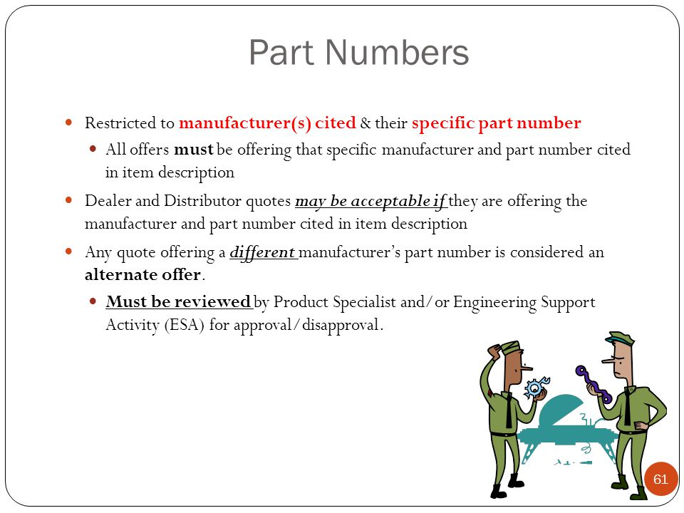 Part Numbers Restricted to manufacturer(s) cited & their specific part number.