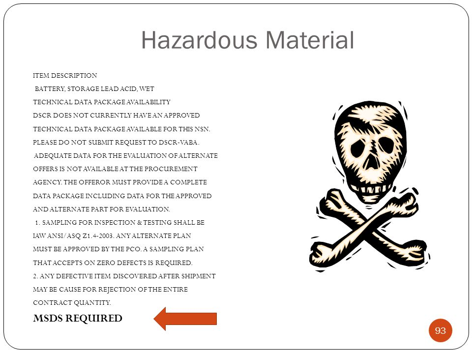 Hazardous Material MSDS REQUIRED ITEM DESCRIPTION