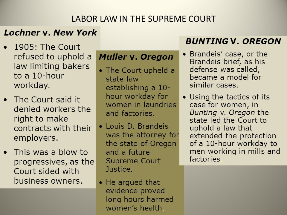 LABOR LAW IN THE SUPREME COURT