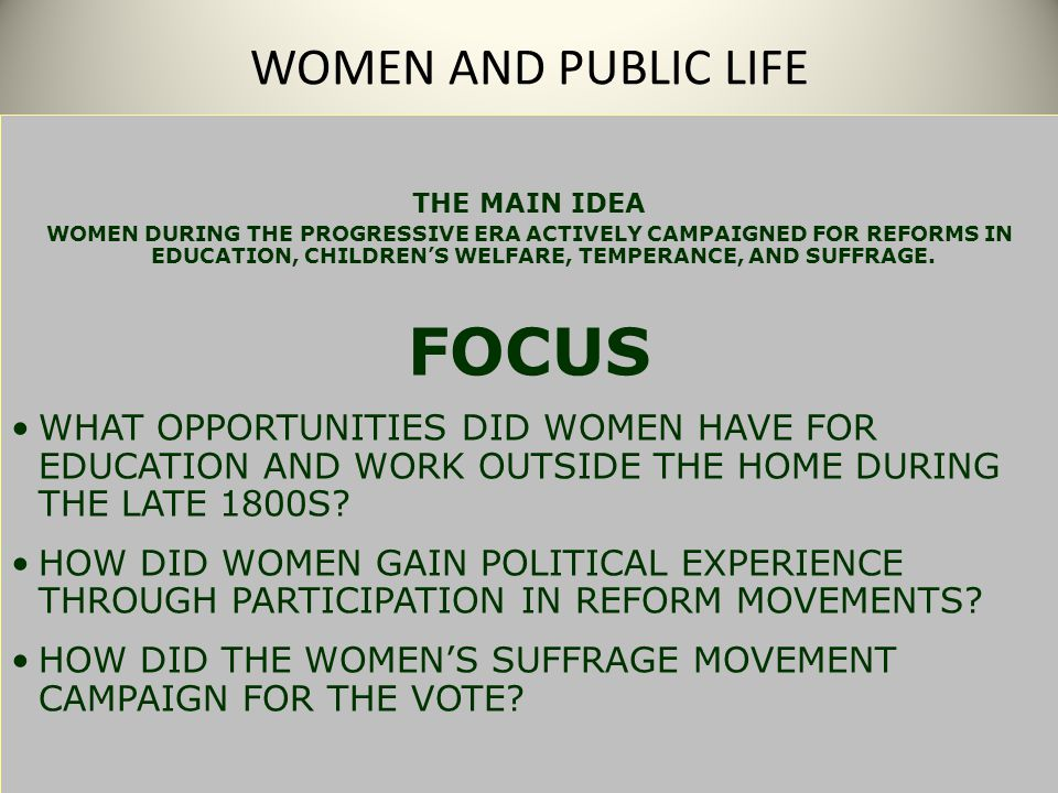 FOCUS WOMEN AND PUBLIC LIFE