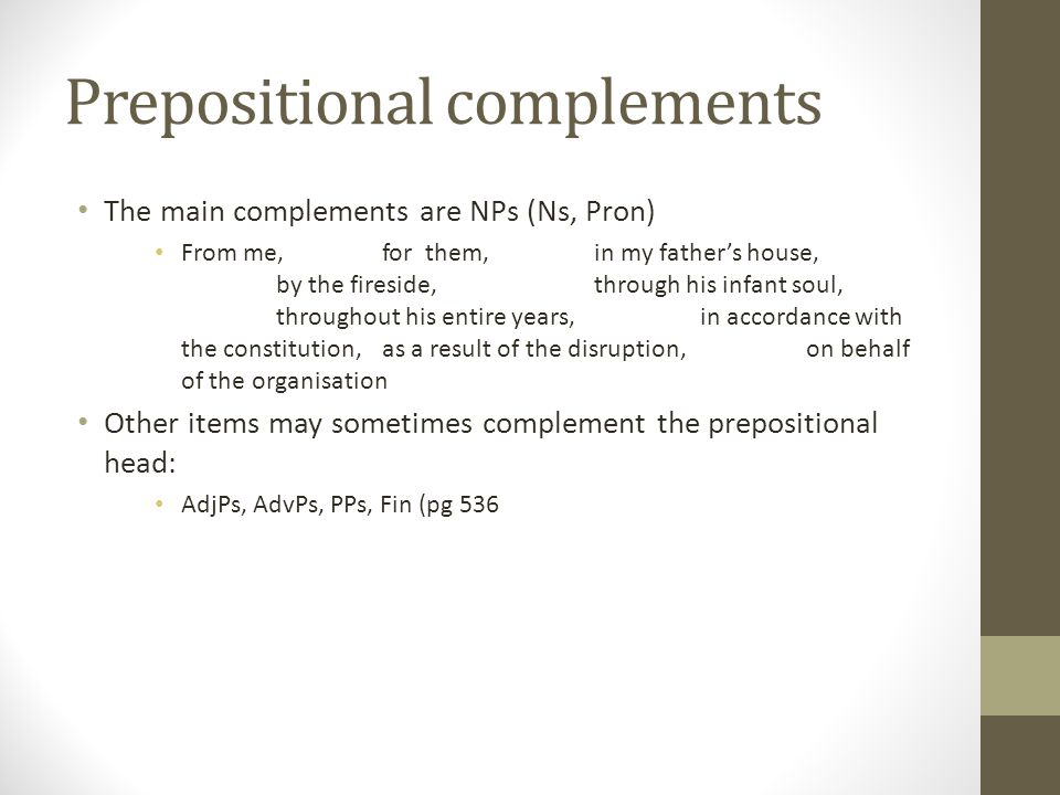 Prepositional complements