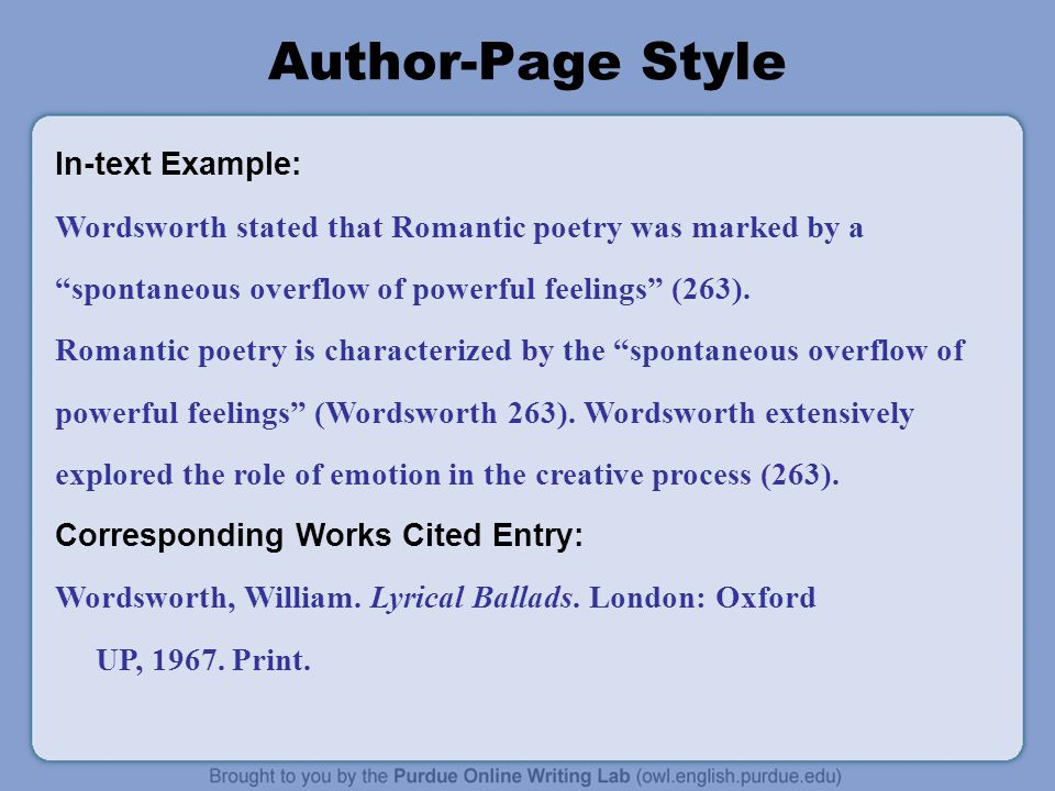 Author-Page Style In-text Example: