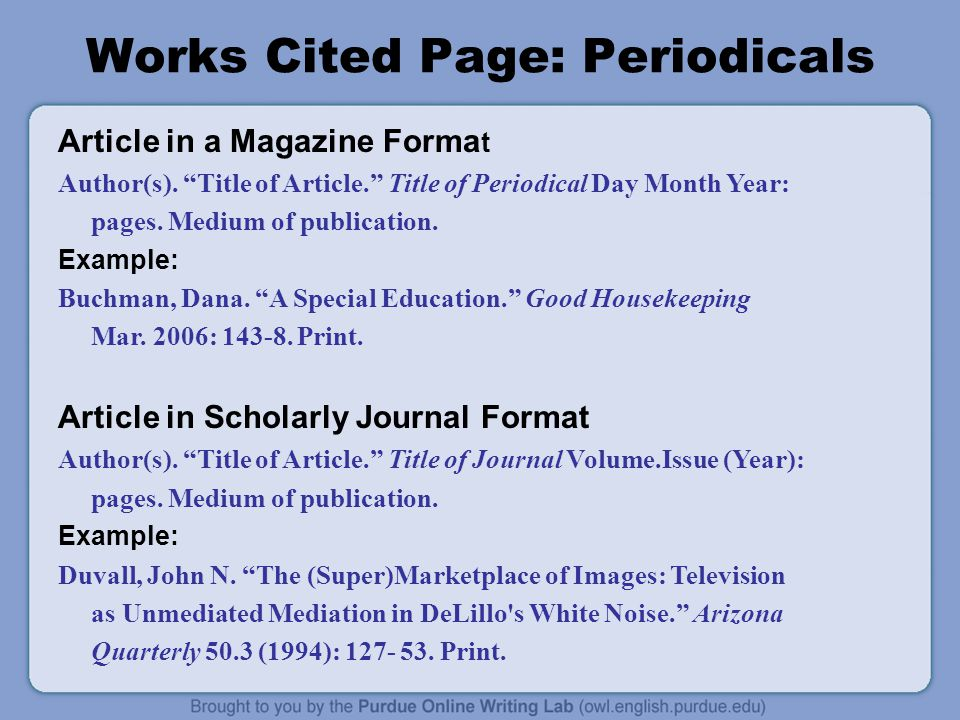 Works Cited Page: Periodicals