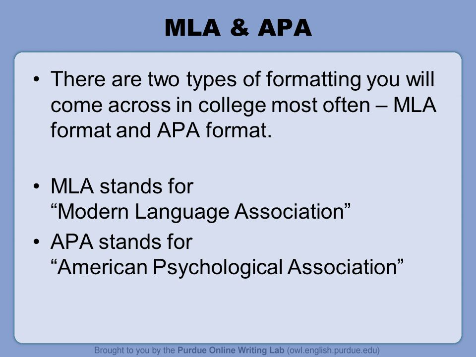 mla format for college
