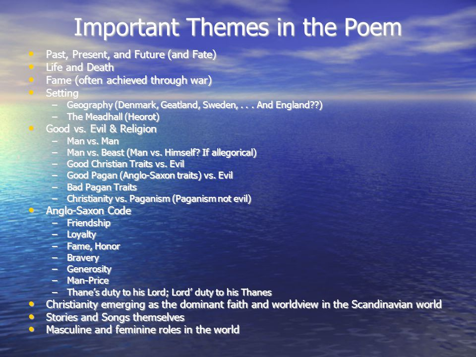 Important Themes in the Poem
