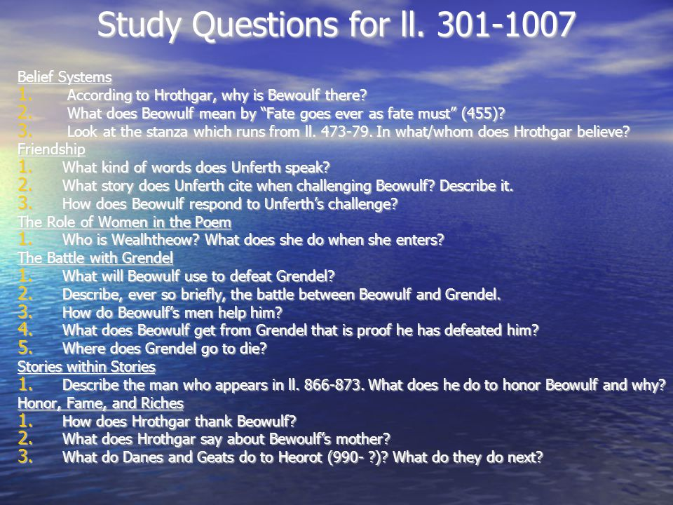 Study Questions for ll. 301-1007