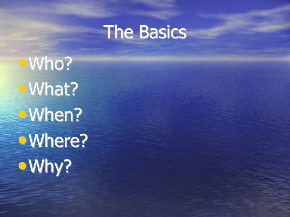 The Basics Who What When Where Why