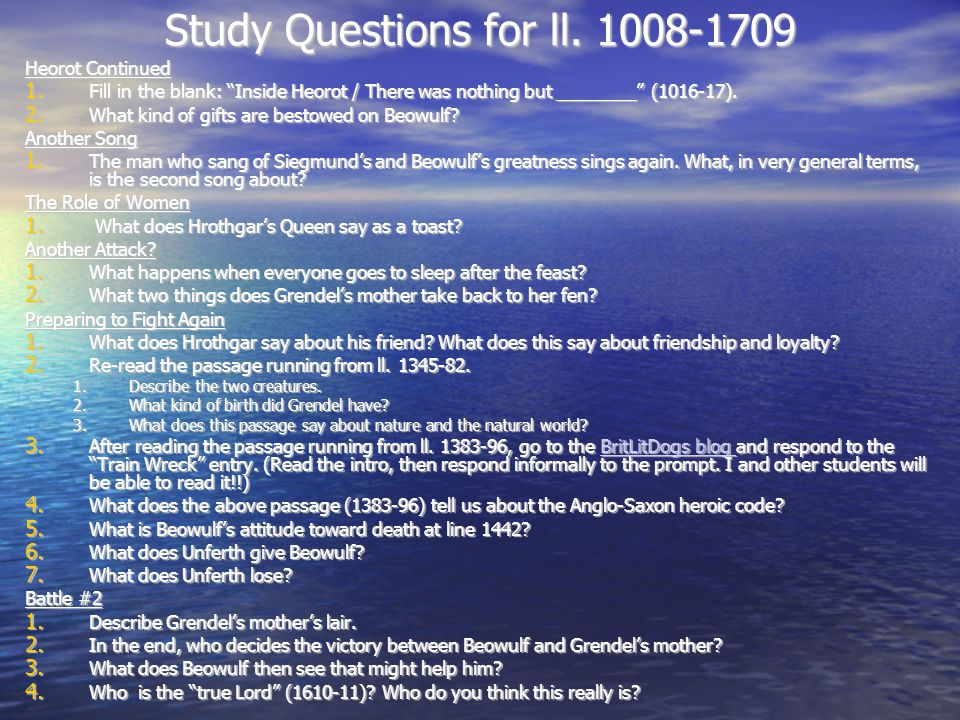 Study Questions for ll. 1008-1709