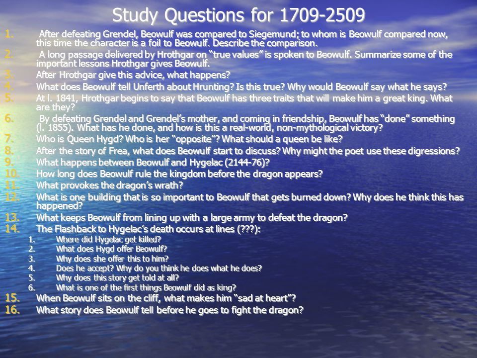 Study Questions for 1709-2509