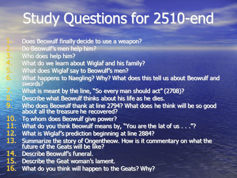 Study Questions for 2510-end