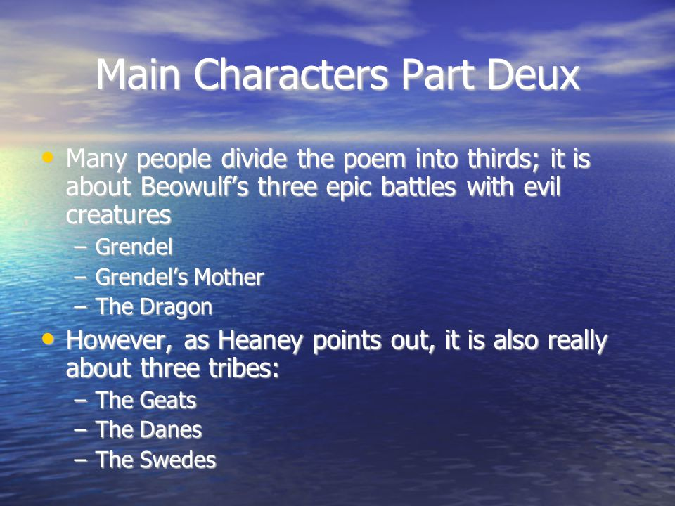 Main Characters Part Deux