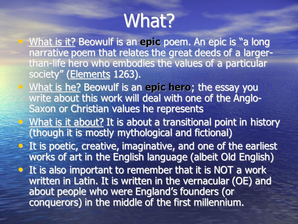analysis essay on beowulf Essay beowulf: character analysis when he arrived at the danish land, beowulf was a young man seeking adventure and glory beowulf was distinguished among his people, the geats, for his bravery.