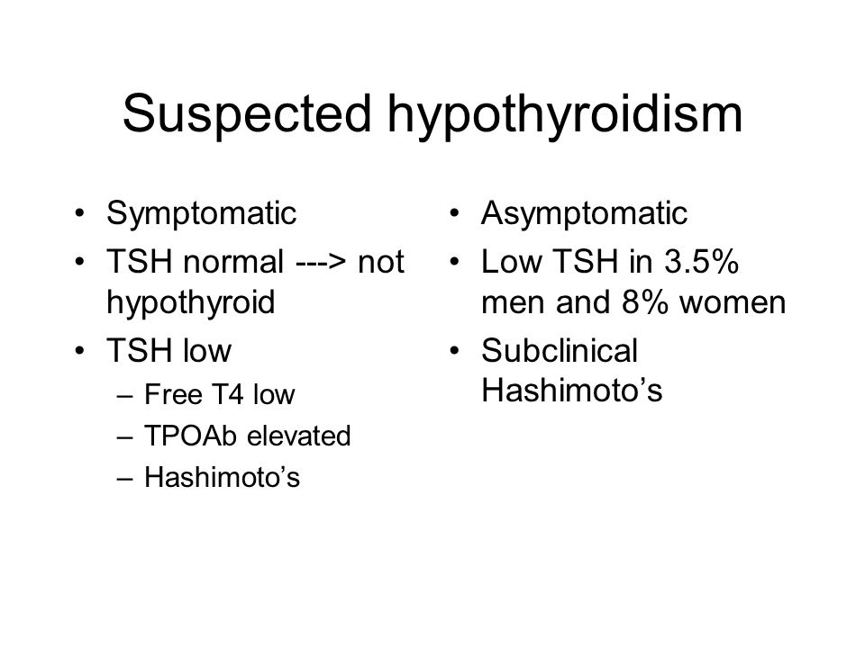Suspected hypothyroidism