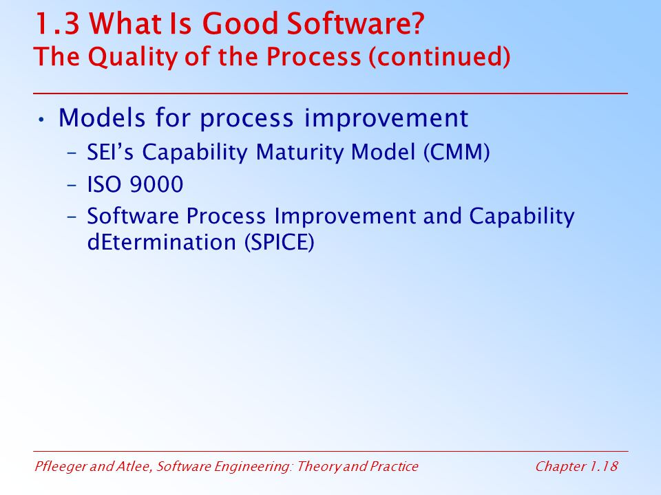 1.3 What Is Good Software The Quality of the Process (continued)