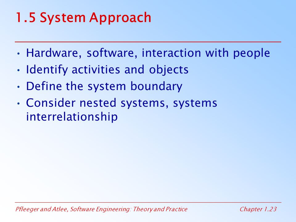1.5 System Approach Hardware, software, interaction with people