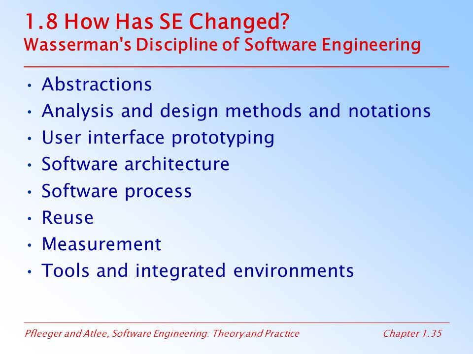 1.8 How Has SE Changed Wasserman s Discipline of Software Engineering