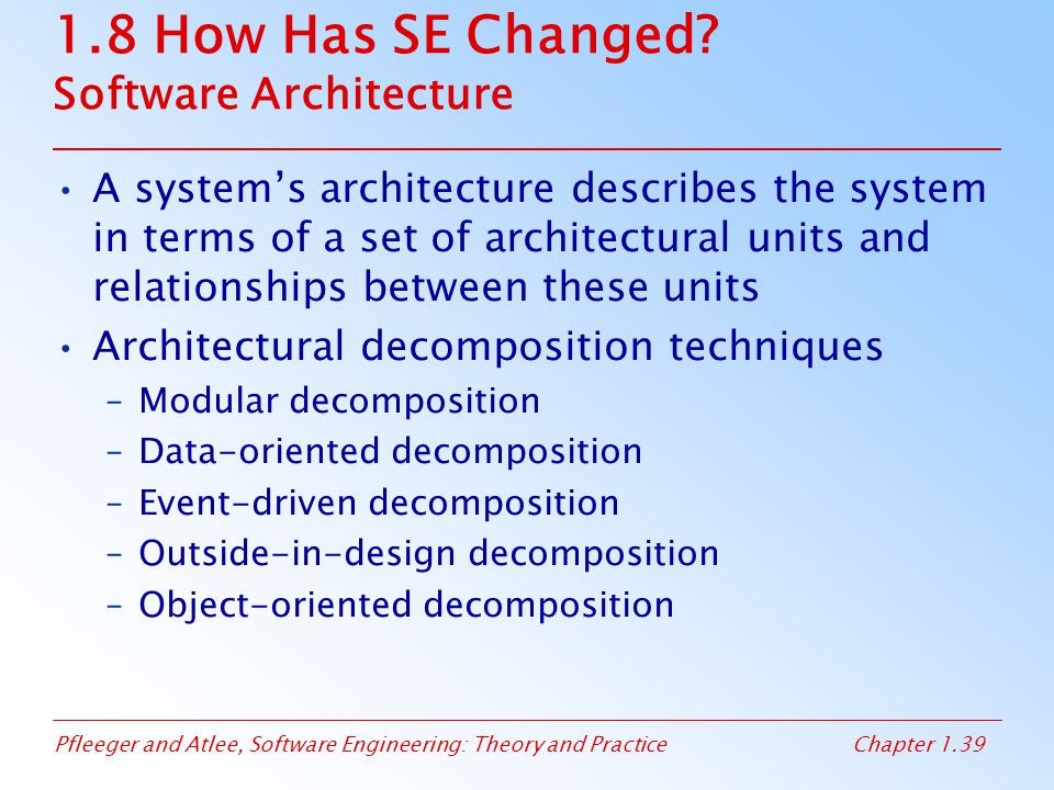 1.8 How Has SE Changed Software Architecture