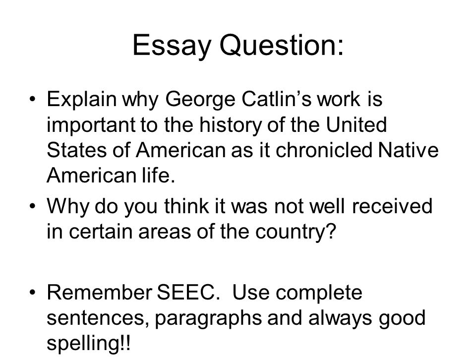 Essay Question: Explain why George Catlin's work is important to the history of the United States of American as it chronicled Native American life.