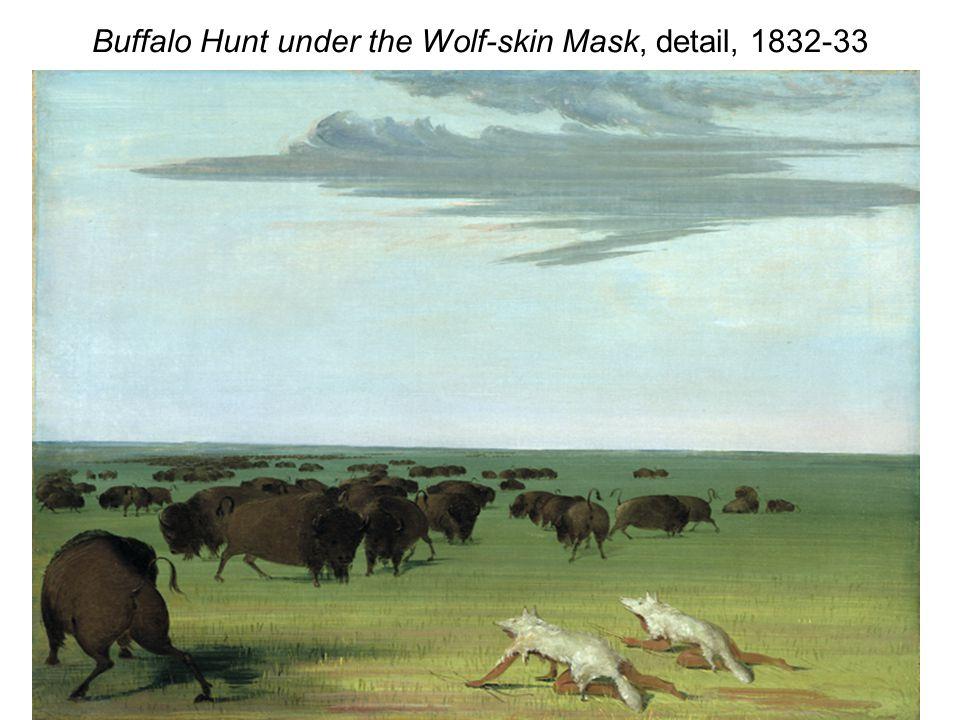 Buffalo Hunt under the Wolf-skin Mask, detail, 1832-33