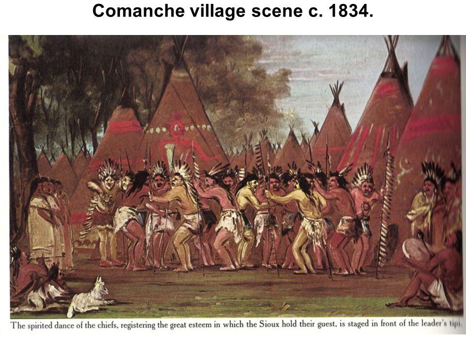 Comanche village scene c. 1834.