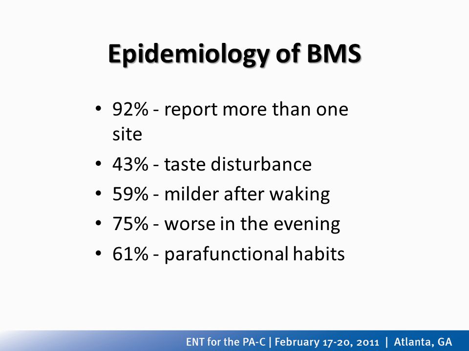 Epidemiology of BMS 92% - report more than one site